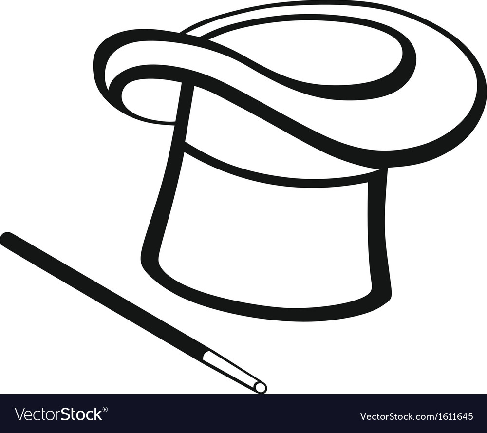 Magic wand and hat vector   Price: 1 Credit (USD $1)