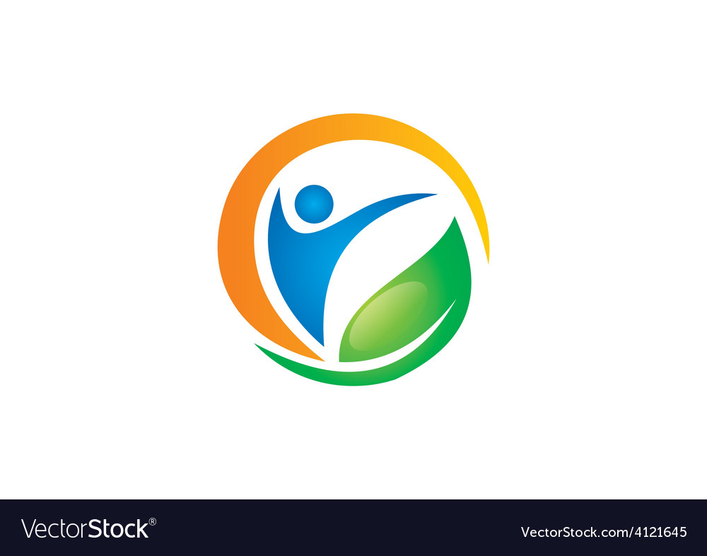 People health fitness spa vegetarian logo vector | Price: 1 Credit (USD $1)