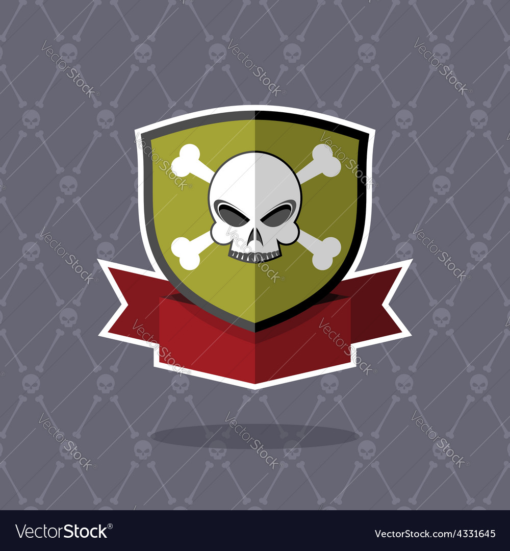 Shield with skull pirate emblem vector | Price: 1 Credit (USD $1)