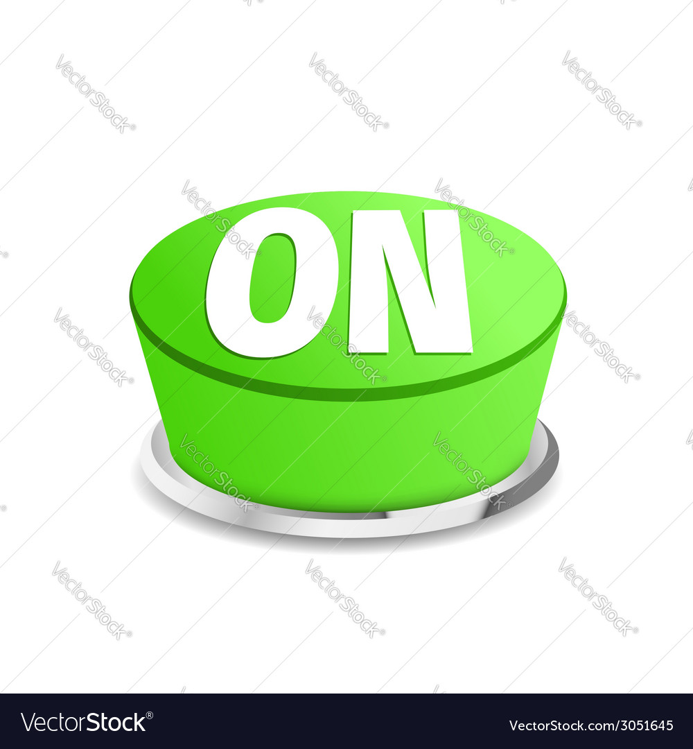 Turn on button sign template green vector | Price: 1 Credit (USD $1)