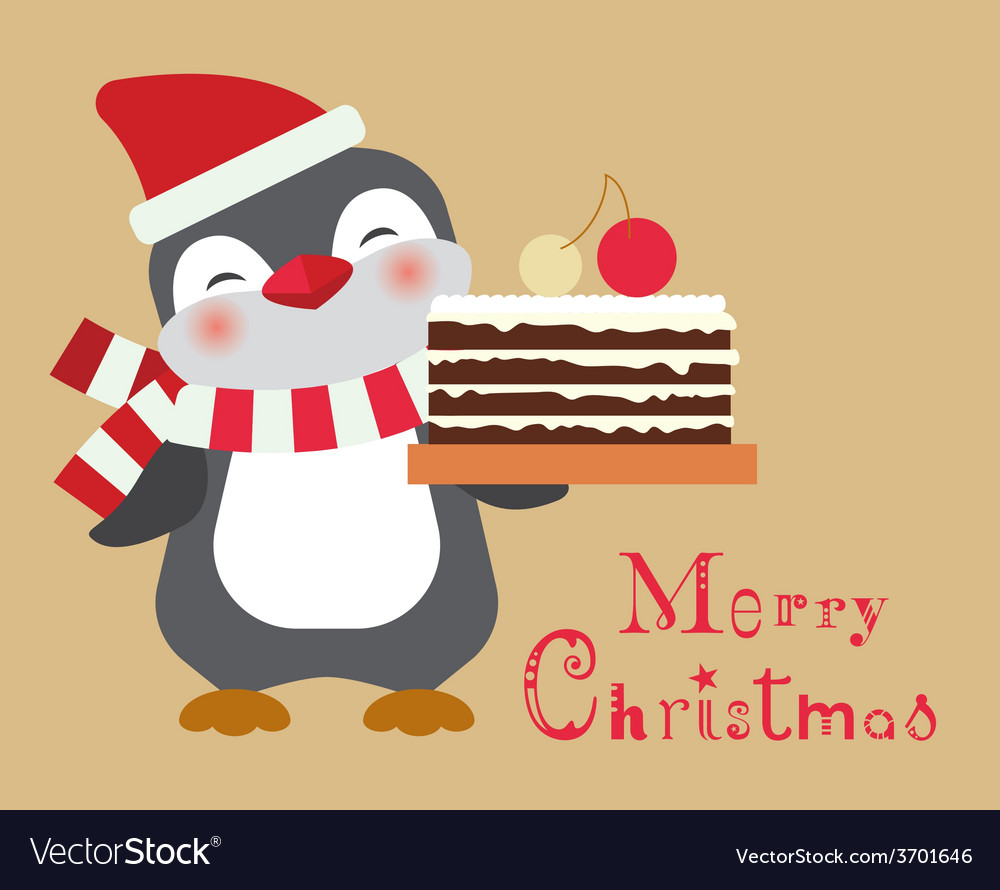 Christmas penguin with cake card vector | Price: 1 Credit (USD $1)