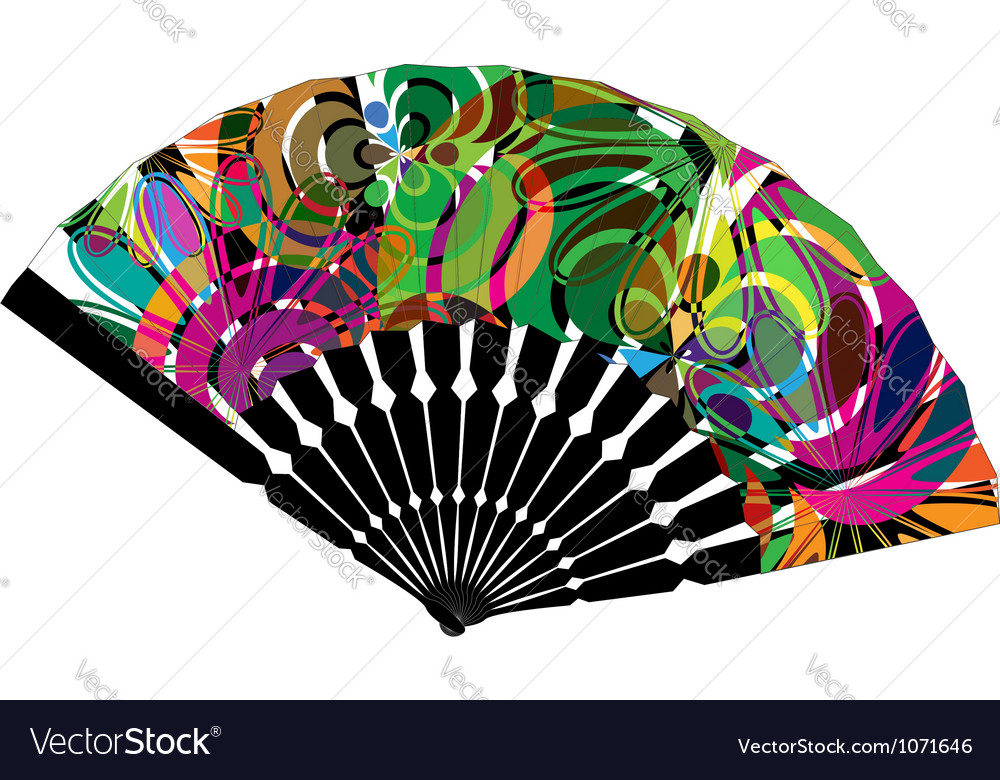 Fan with abstract drawing vector | Price: 1 Credit (USD $1)