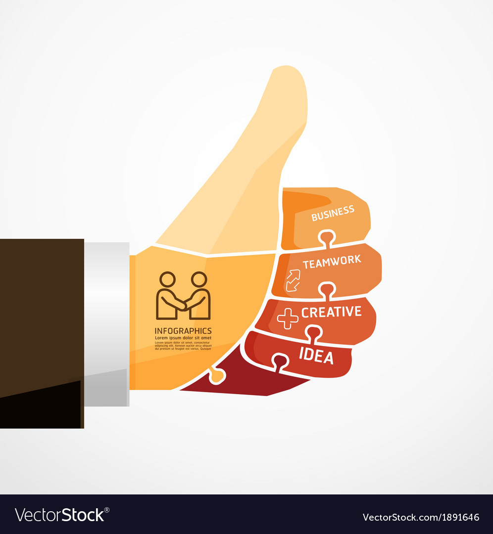 Fingers shape good ok jigsaw banner concept vector | Price: 1 Credit (USD $1)
