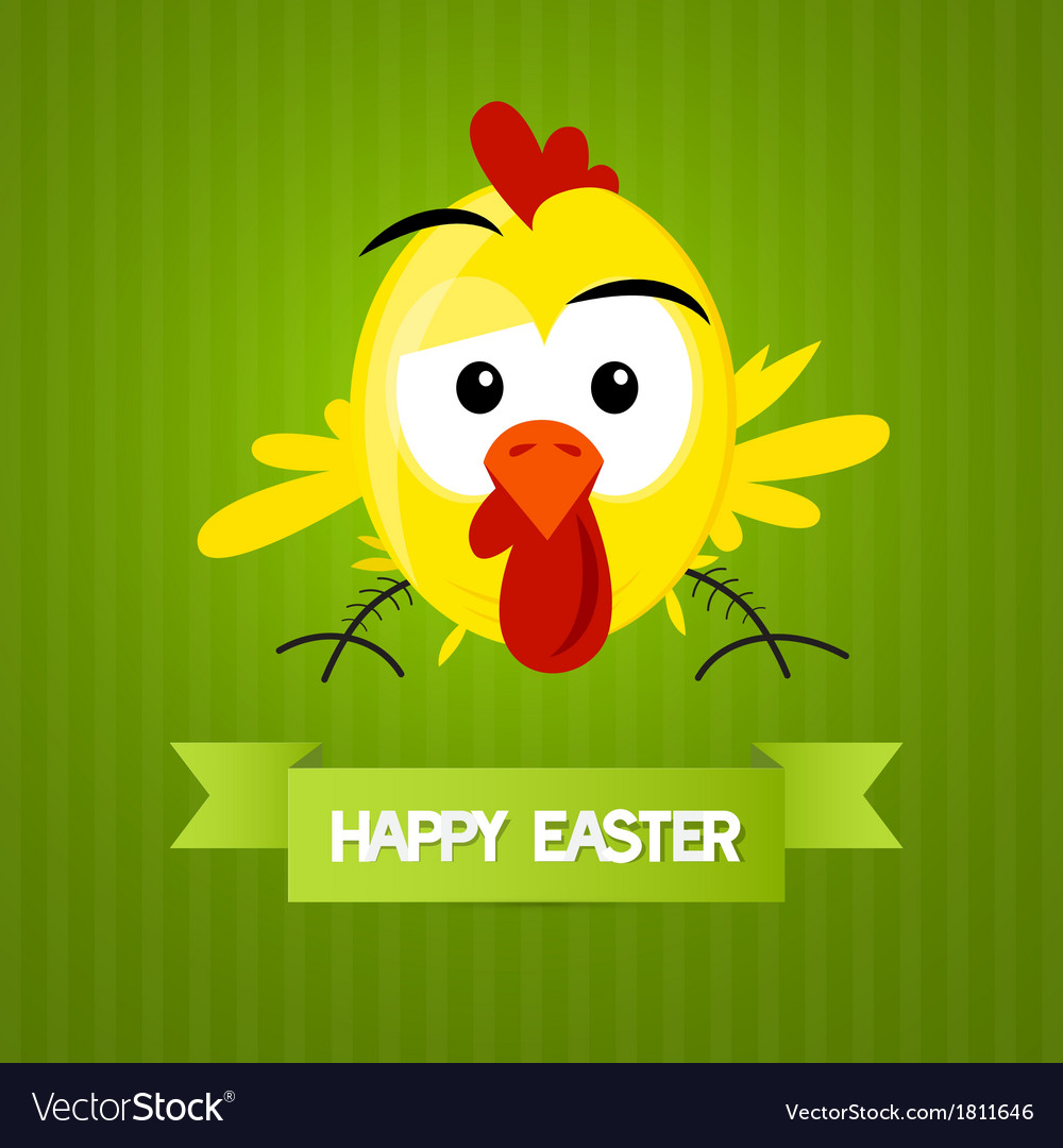 Green easter background with yellow funny chicken vector | Price: 1 Credit (USD $1)