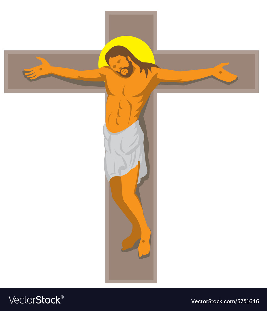 Jesus christ on cross retro vector | Price: 1 Credit (USD $1)