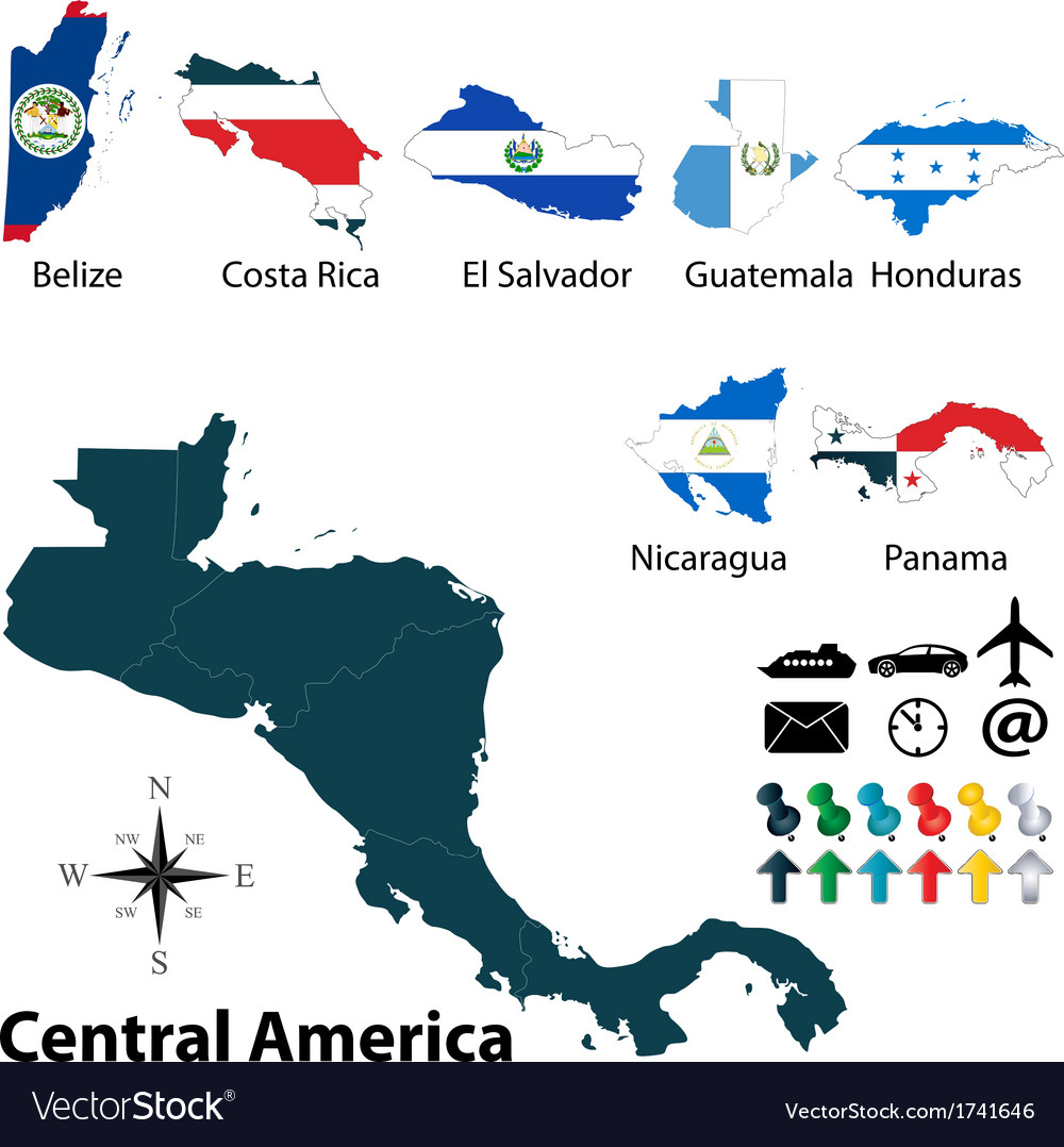 Maps with flags of central america vector | Price: 1 Credit (USD $1)