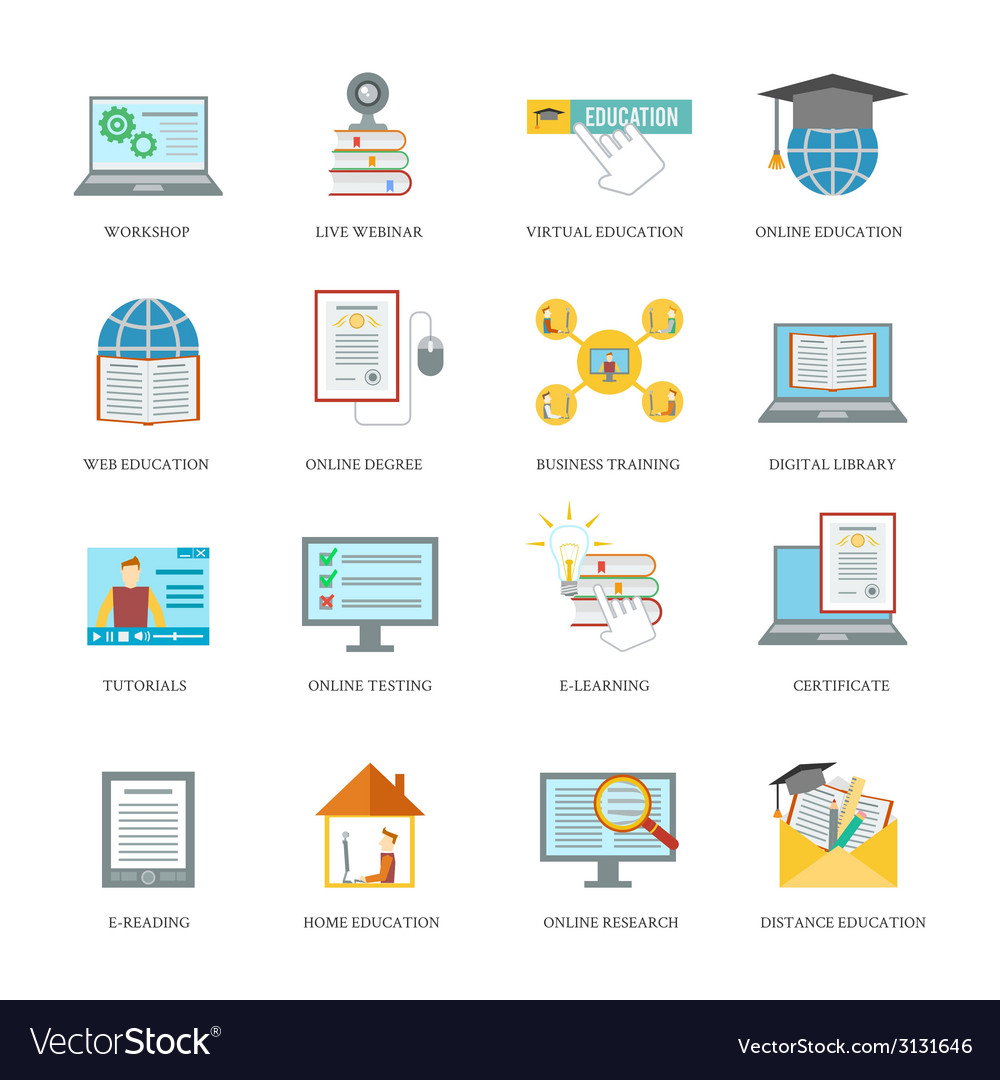 Online education icon set vector | Price: 1 Credit (USD $1)