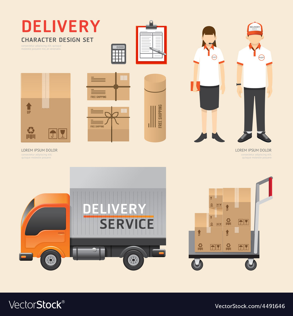 People set delivery shipping service job character vector | Price: 3 Credit (USD $3)