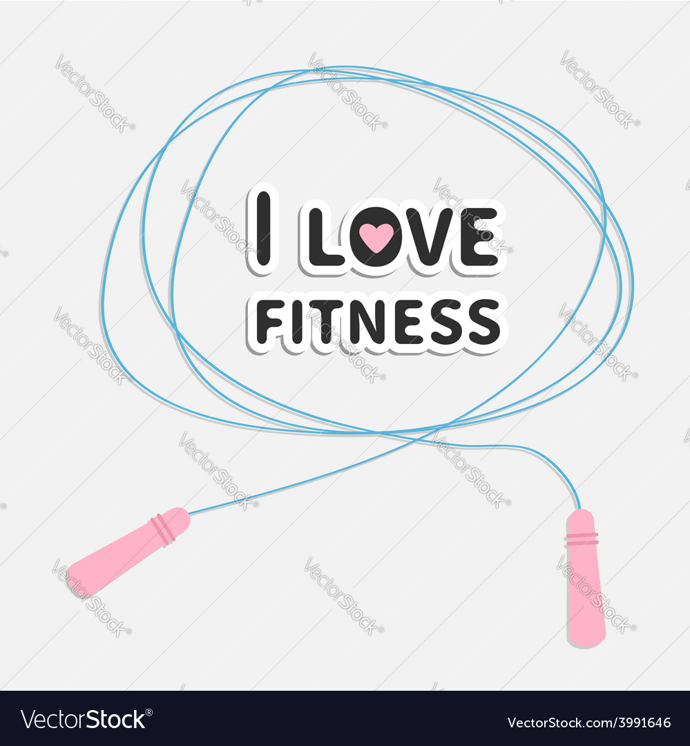 Skipping jumping rope i love fitness sport back vector | Price: 1 Credit (USD $1)