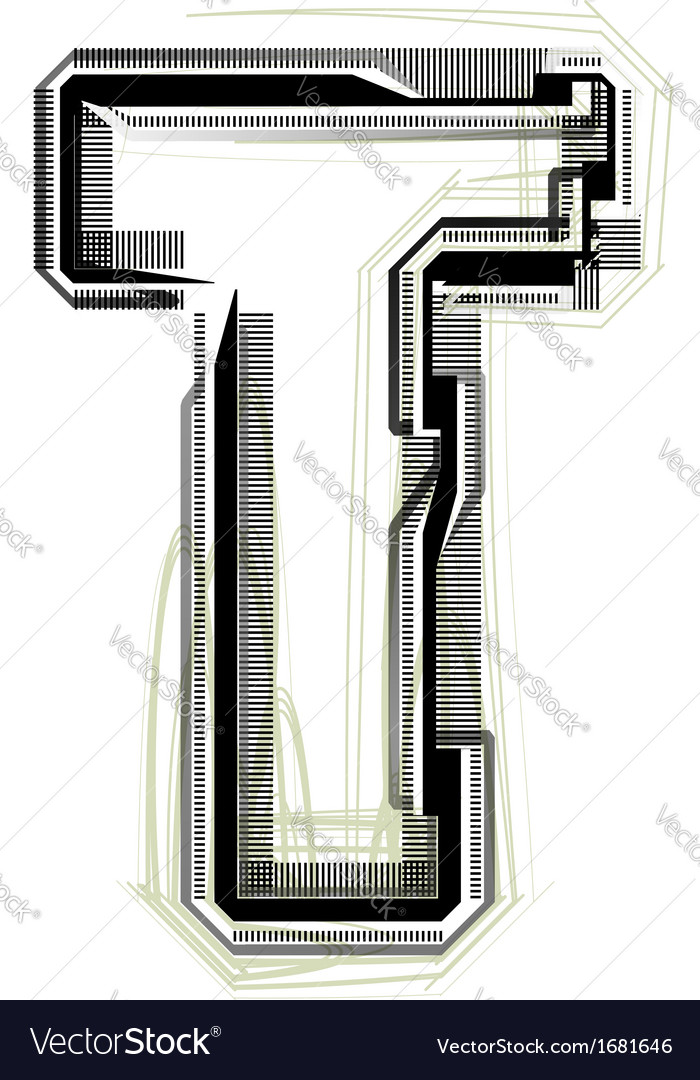 Technological font letter t vector | Price: 1 Credit (USD $1)
