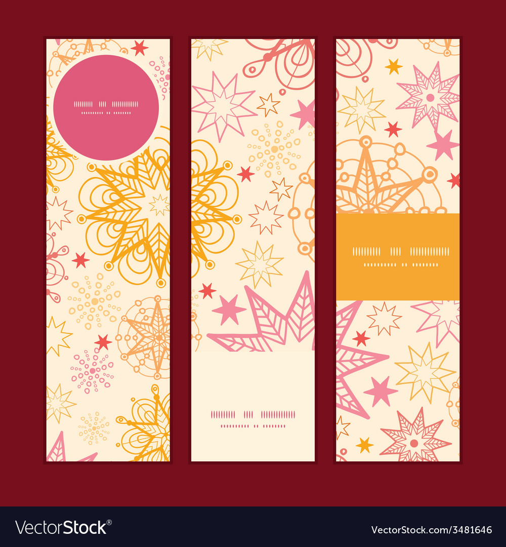 Warm stars vertical banners set pattern background vector | Price: 1 Credit (USD $1)