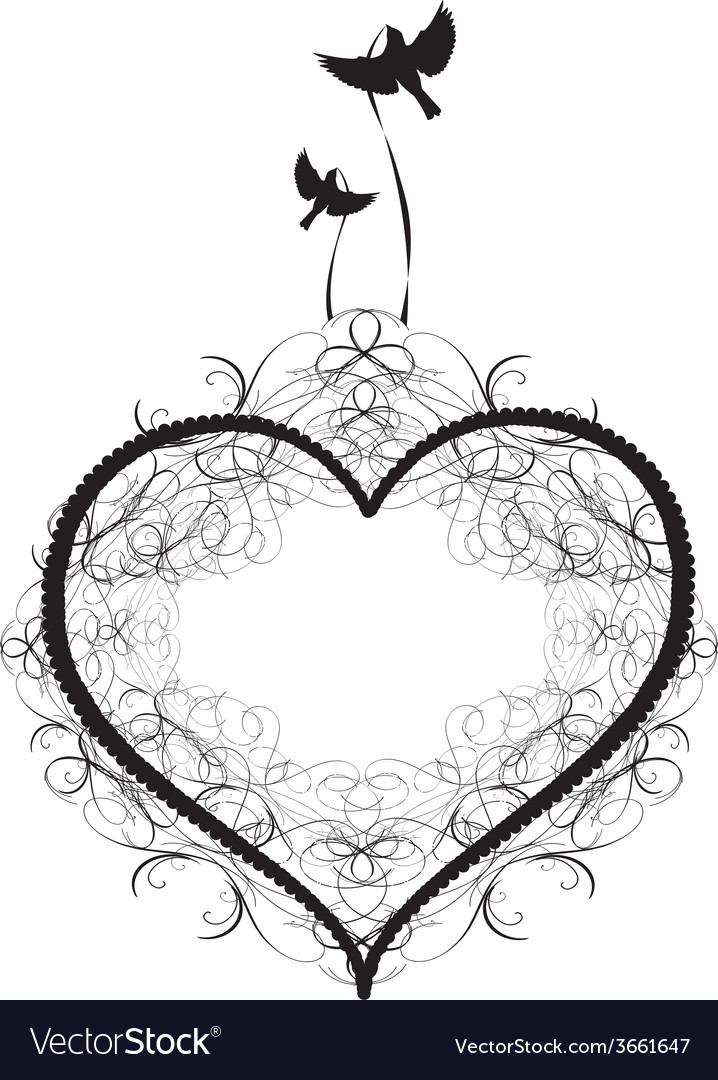 Antique-ornament-of-a-heart-with-birds vector | Price: 1 Credit (USD $1)