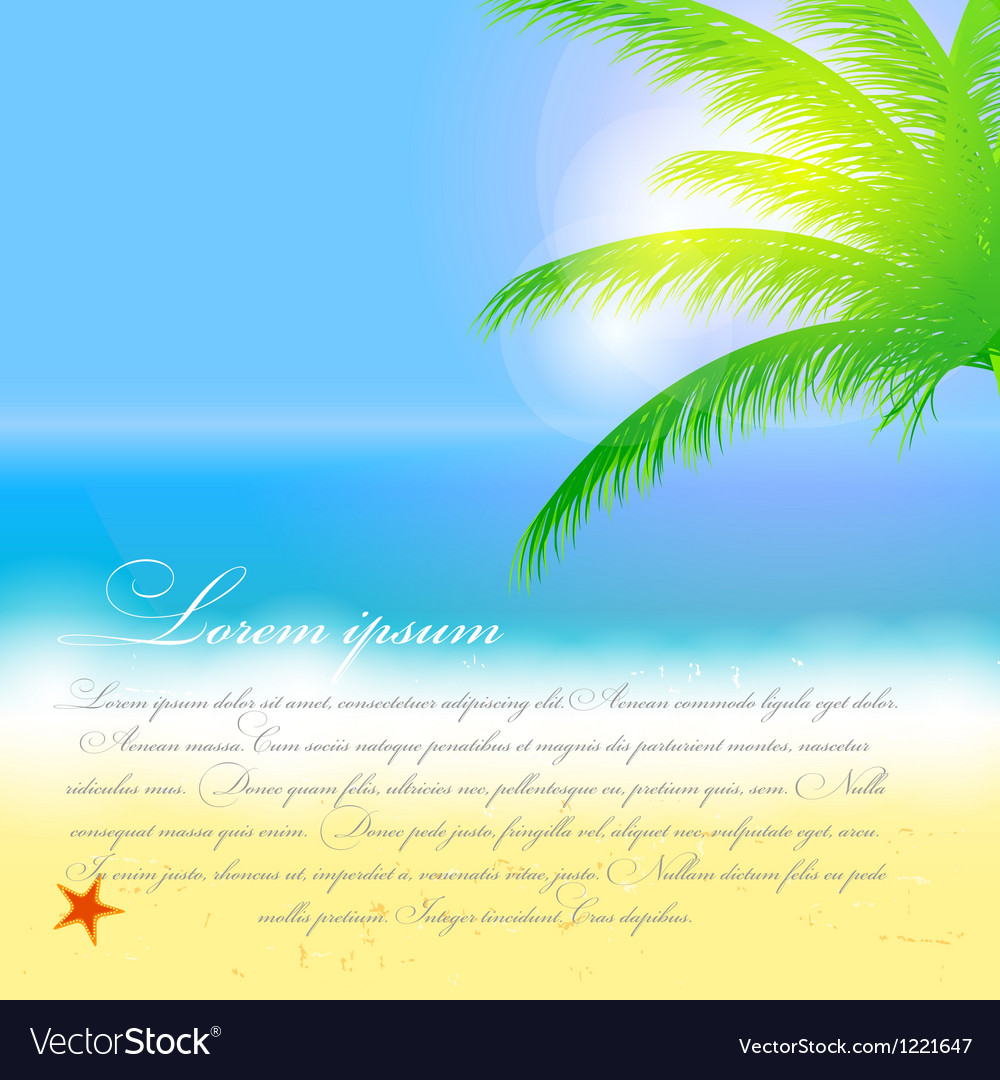 Beautiful summer background with beach sea sun and vector | Price: 1 Credit (USD $1)