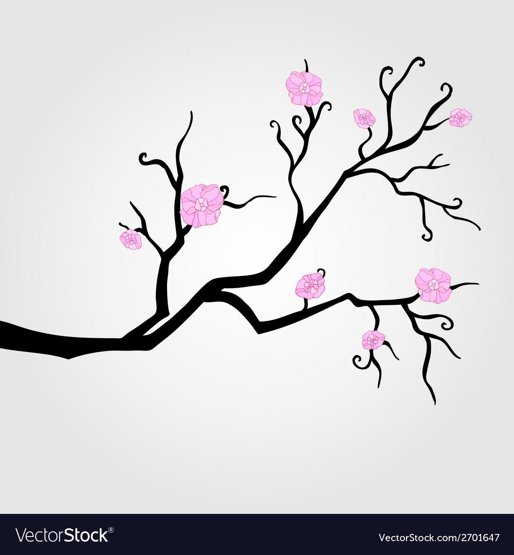 Branch in bloom vector | Price: 1 Credit (USD $1)