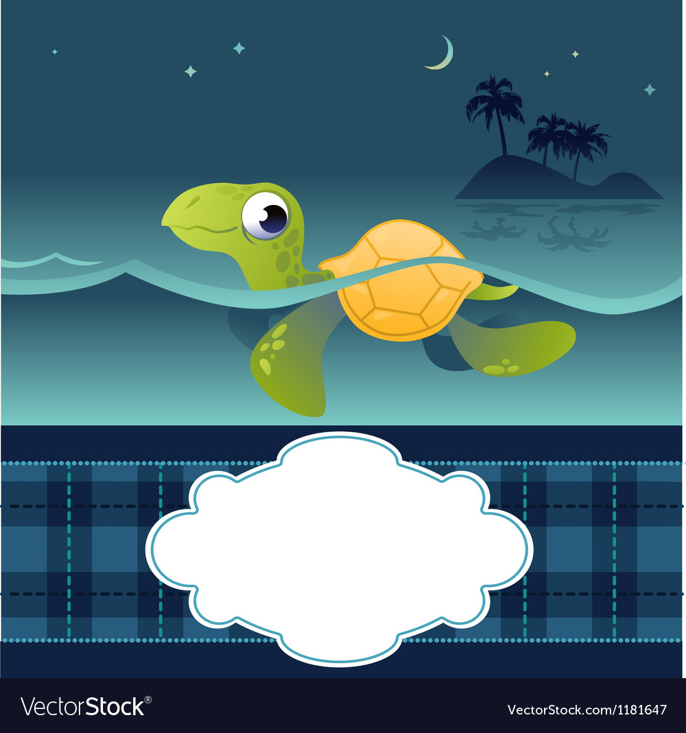 Card with funny turtle vector | Price: 1 Credit (USD $1)