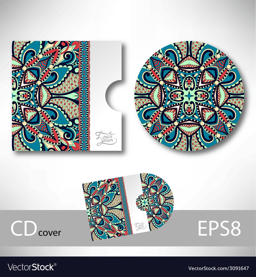 Cd cover design template with ukrainian ethnic vector   Price: 1 Credit (USD $1)