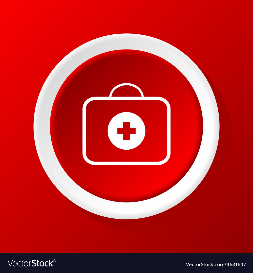 First-aid kit icon on red vector | Price: 1 Credit (USD $1)