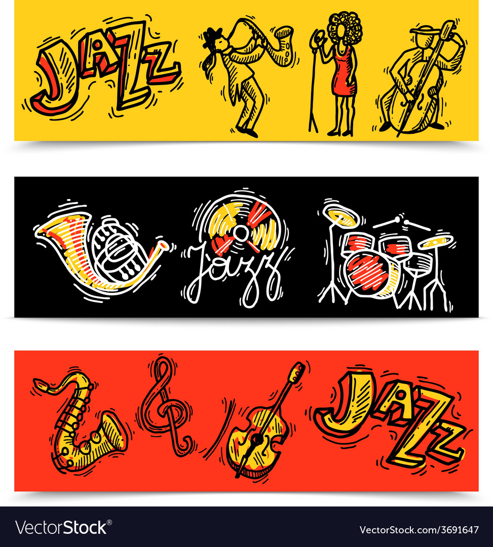 Jazz banners set vector | Price: 1 Credit (USD $1)