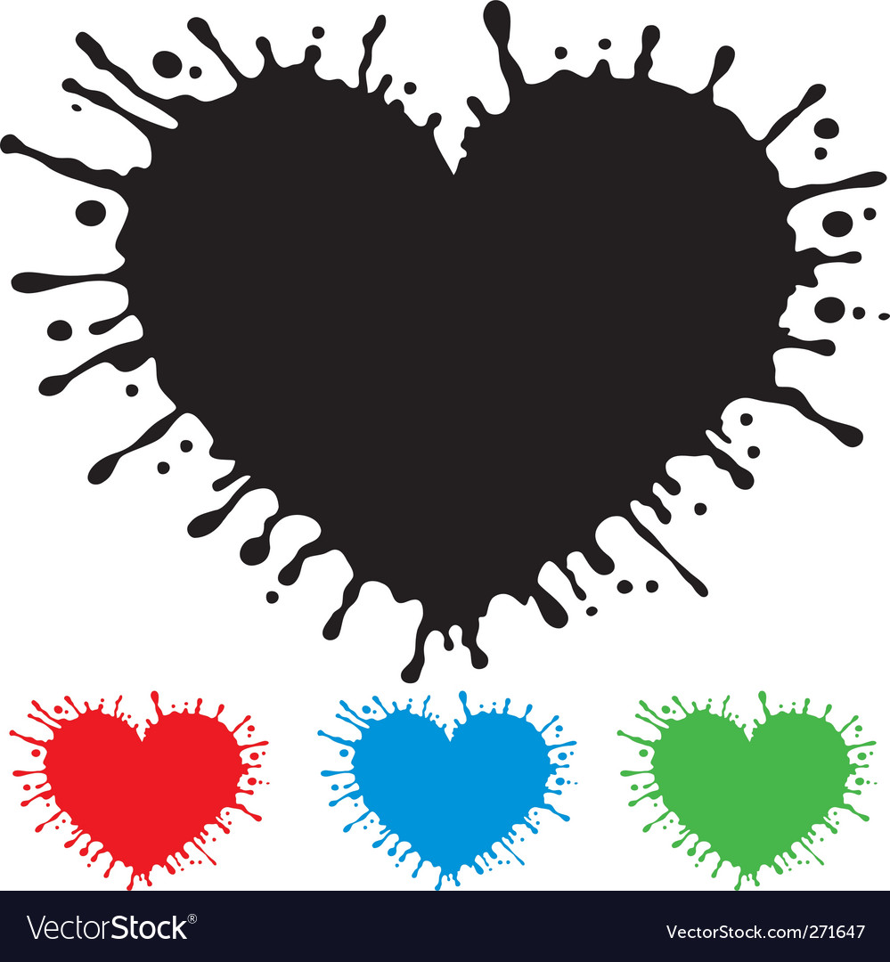 Painted heart with splashes vector | Price: 1 Credit (USD $1)