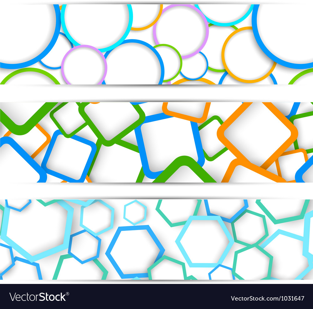 Set of banners with geometric elements vector | Price: 1 Credit (USD $1)