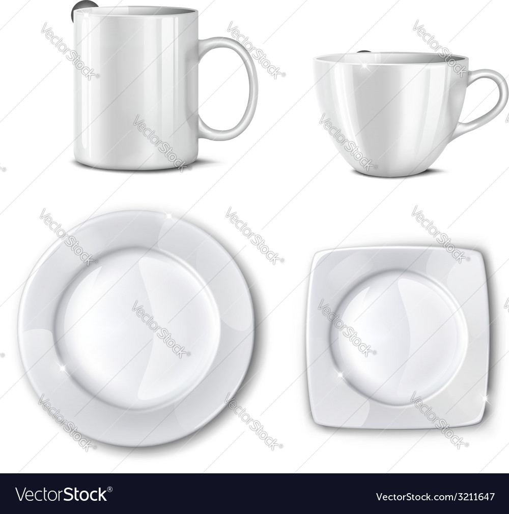 Set of cups and plates vector | Price: 1 Credit (USD $1)