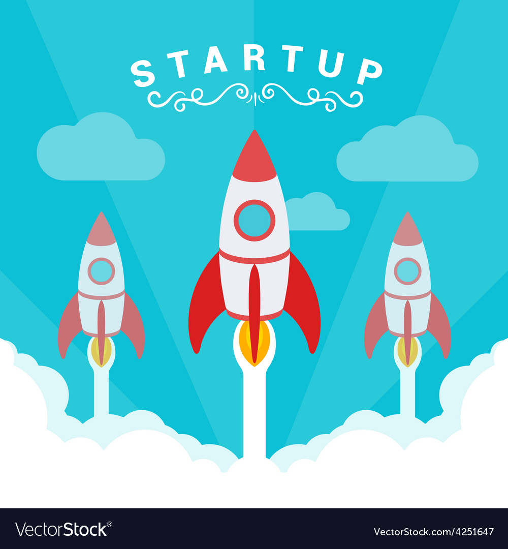 Startup  the rockets takes off vector | Price: 1 Credit (USD $1)
