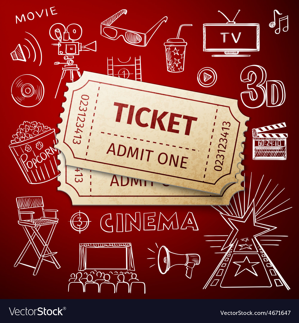 Two tickets and hand draw cinema icon vector | Price: 1 Credit (USD $1)