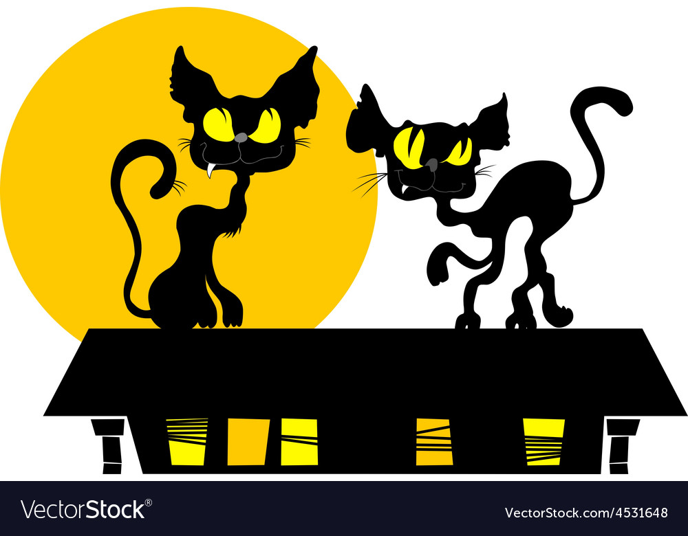 Black cat and the moon cartoon vector | Price: 3 Credit (USD $3)