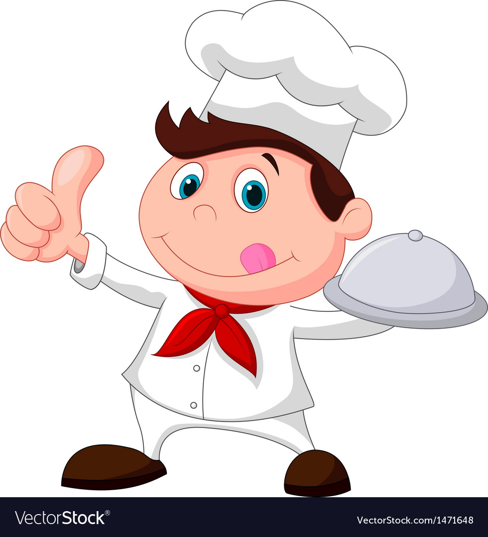 Chef cartoon holding a metal food platter and thum vector | Price: 1 Credit (USD $1)