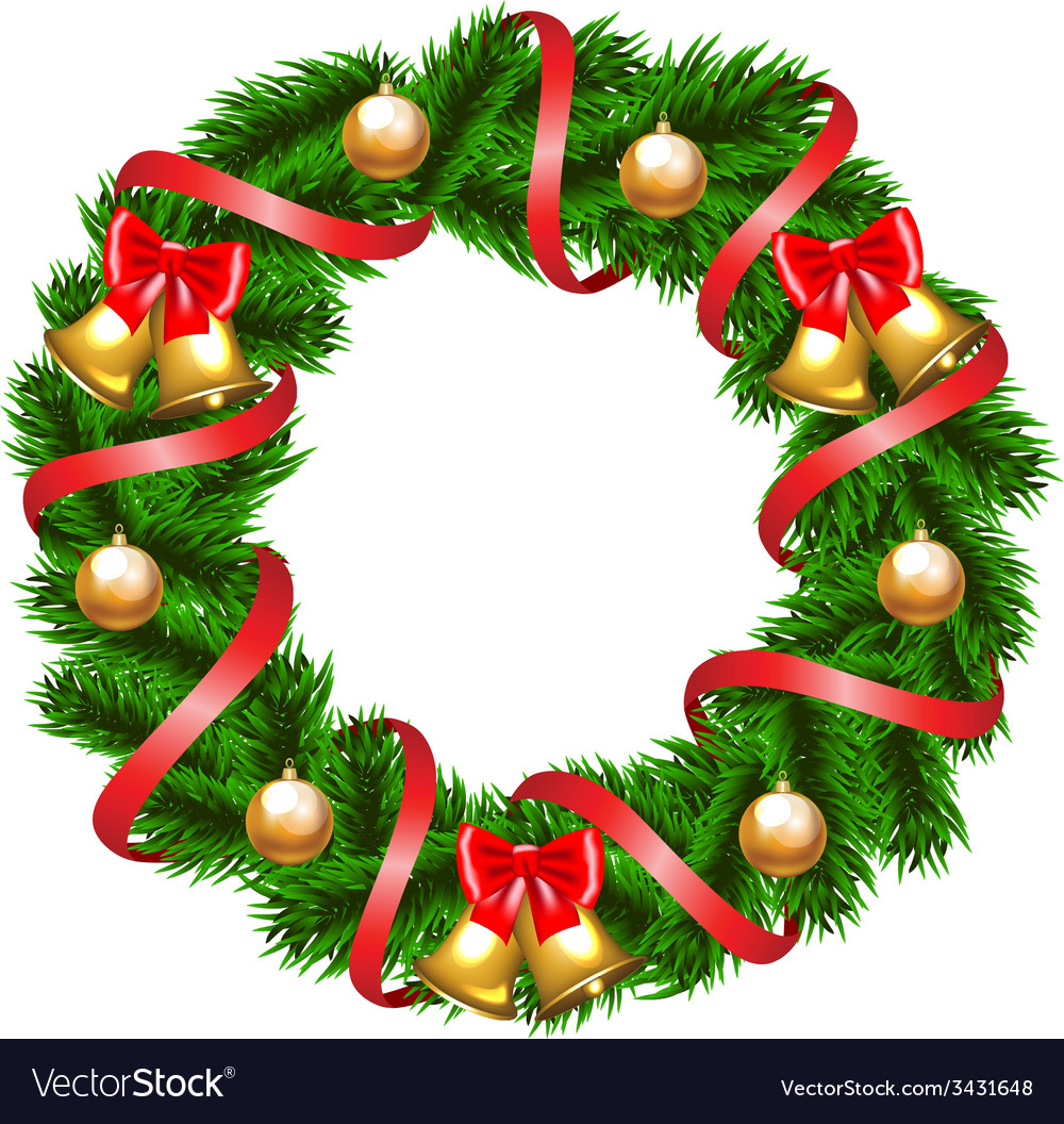 Christmas fir-tree wreath vector | Price: 1 Credit (USD $1)