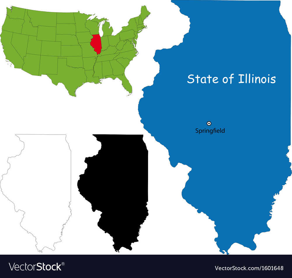Illinois map vector | Price: 1 Credit (USD $1)