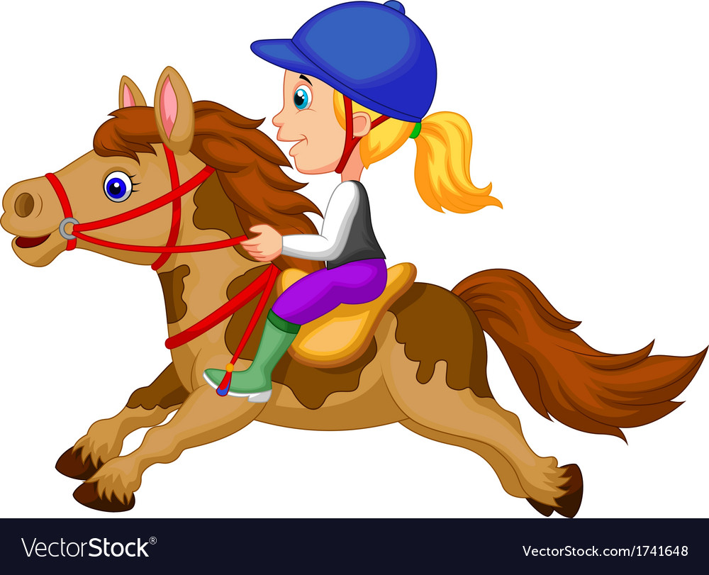 Little girl cartoon riding a pony horse vector | Price: 1 Credit (USD $1)