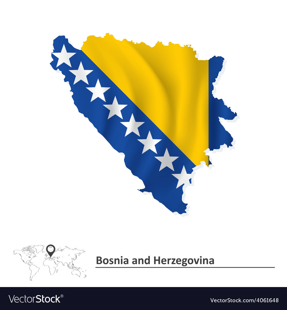Map of bosnia and herzegovina with flag vector | Price: 1 Credit (USD $1)