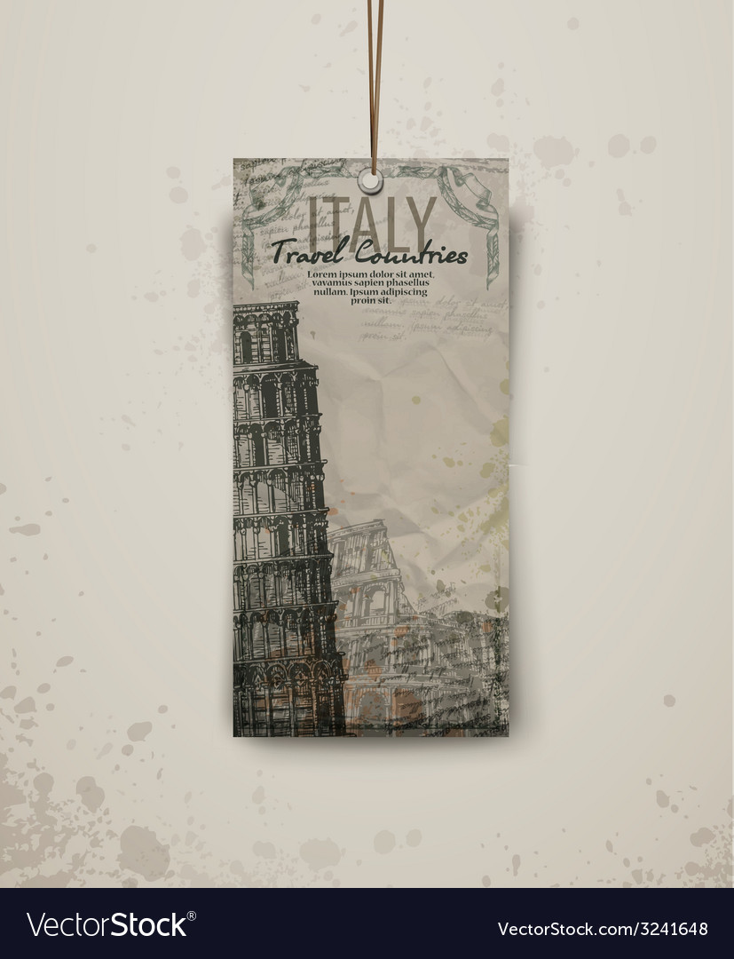 Pisa tower hand drawn vector | Price: 1 Credit (USD $1)