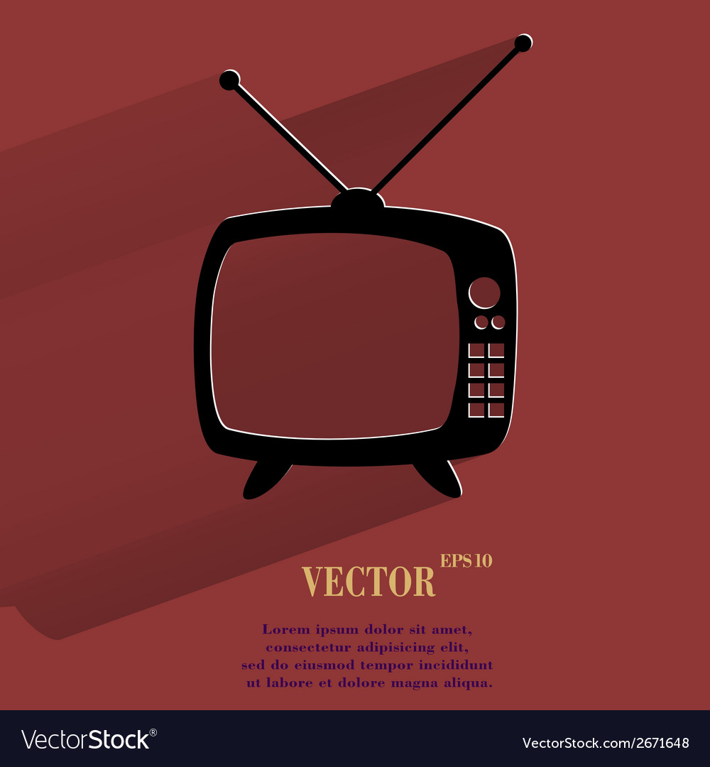 Retro tv flat modern web button with long shadow vector   Price: 1 Credit (USD $1)