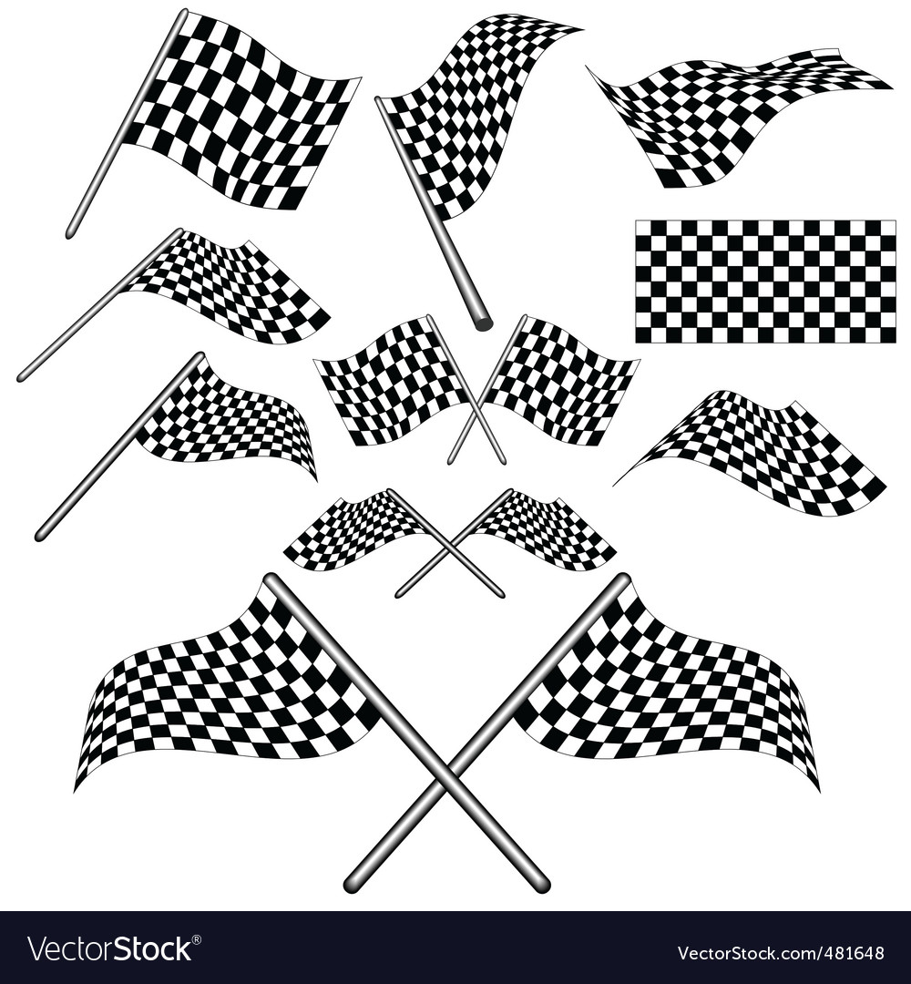 Set of checkered flag vector