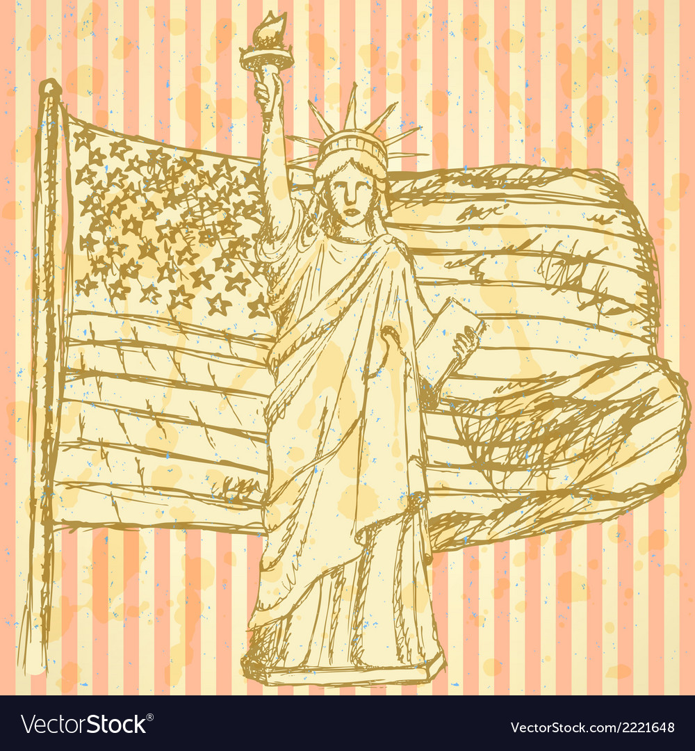 Sketch usa flag and statue of liberty vector | Price: 1 Credit (USD $1)