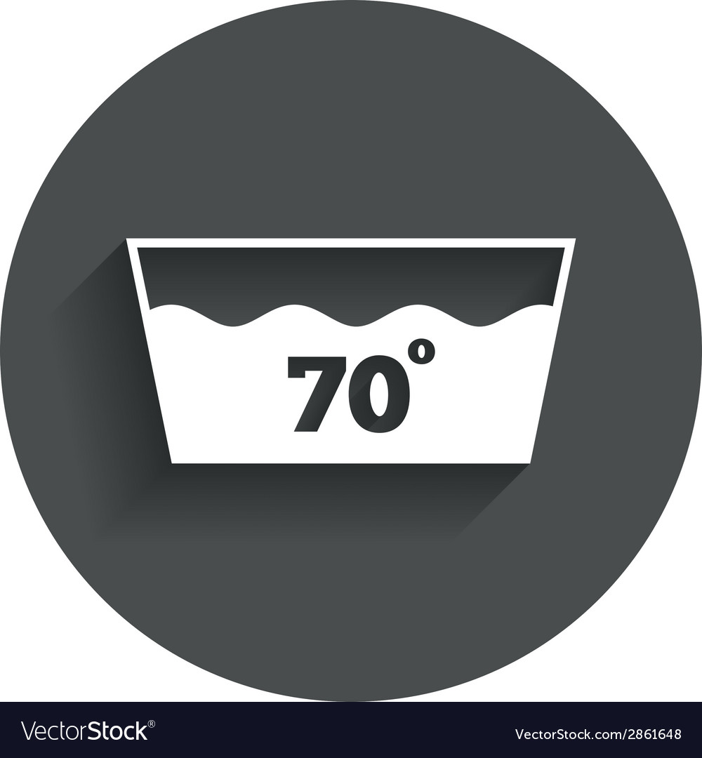 Wash icon machine washable at 70 degrees symbol vector | Price: 1 Credit (USD $1)