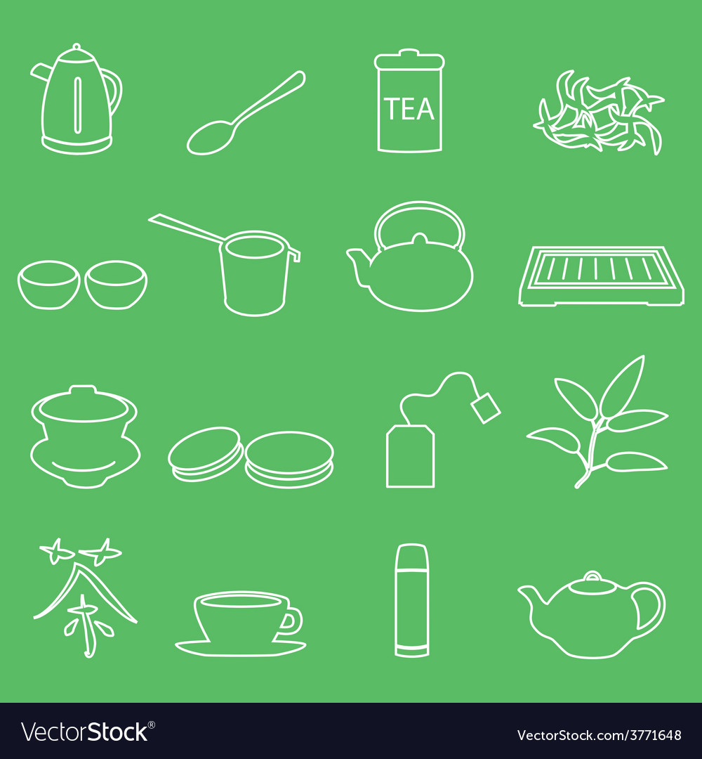 White tea outline icons on green background eps10 vector | Price: 1 Credit (USD $1)