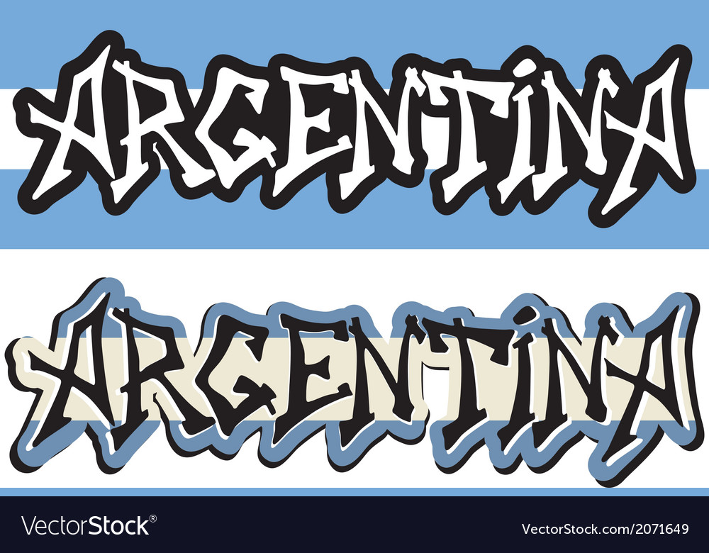 Argentina word graffiti different style vector | Price: 1 Credit (USD $1)