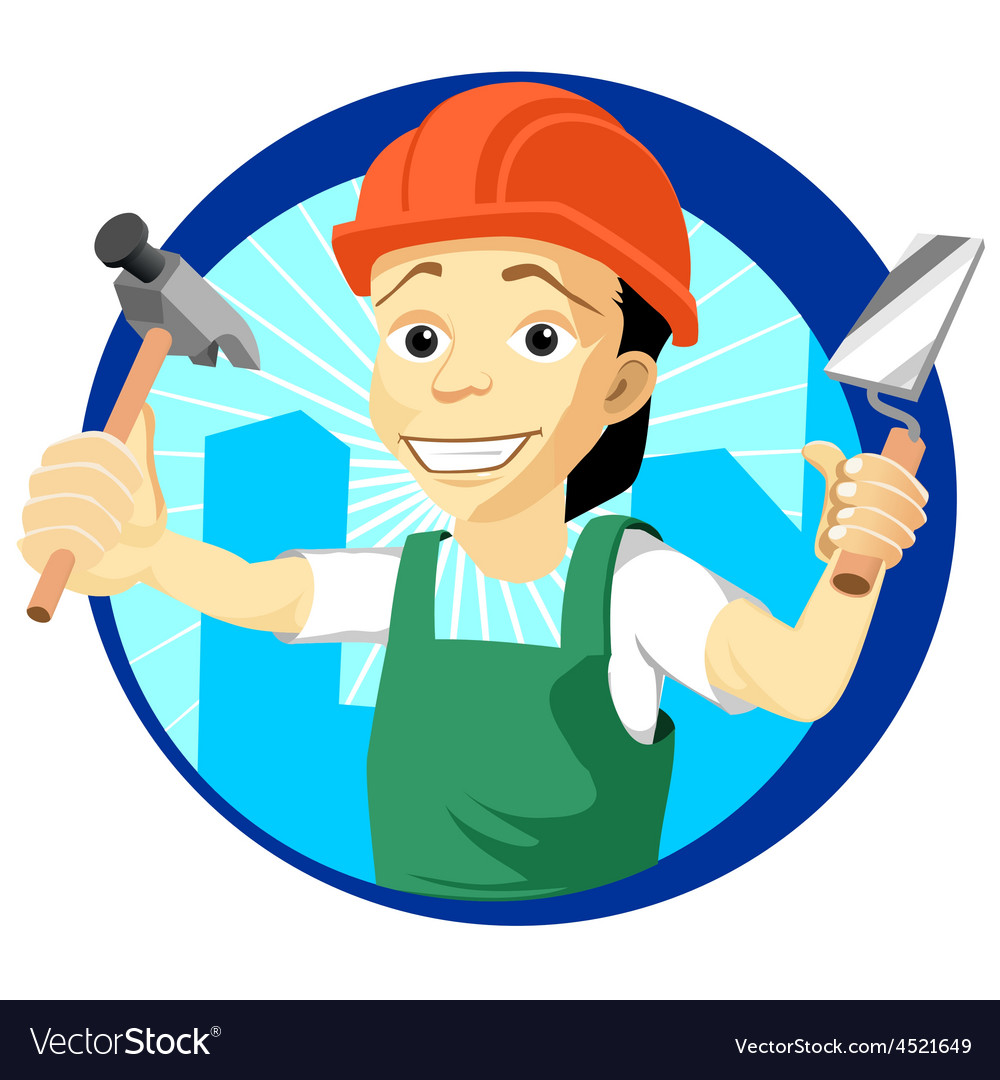 Cheerful plasterer with a trowel and hammer vector | Price: 1 Credit (USD $1)