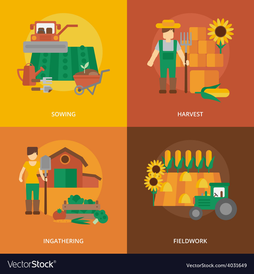 Farmer land flat icons composition vector | Price: 1 Credit (USD $1)