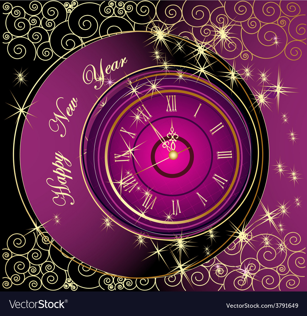 Happy new year background with clock vector | Price: 1 Credit (USD $1)