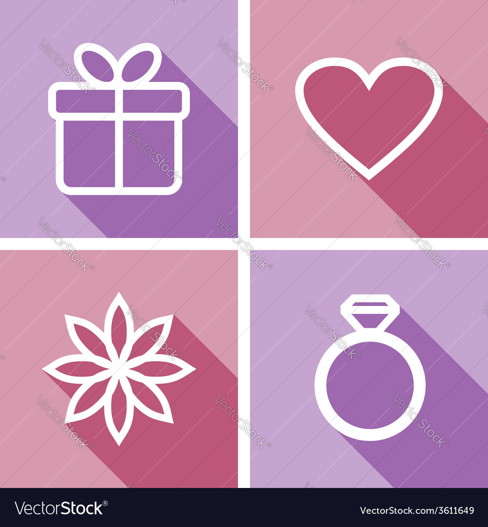 Line icons for valentines day or wedding design vector | Price: 1 Credit (USD $1)