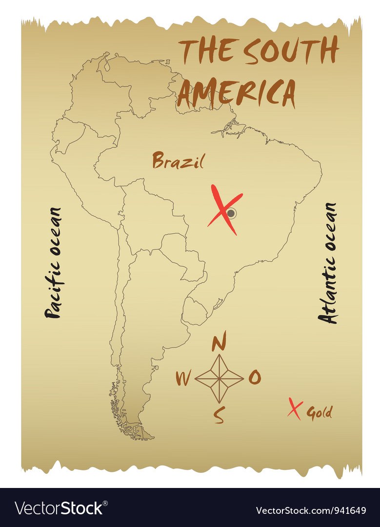 Map of the south america vector | Price: 1 Credit (USD $1)