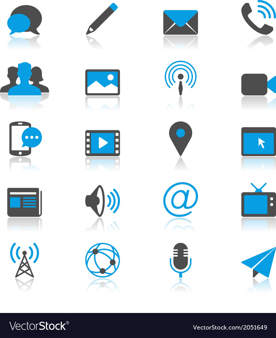 Media and communication flat with reflection icons vector | Price: 1 Credit (USD $1)