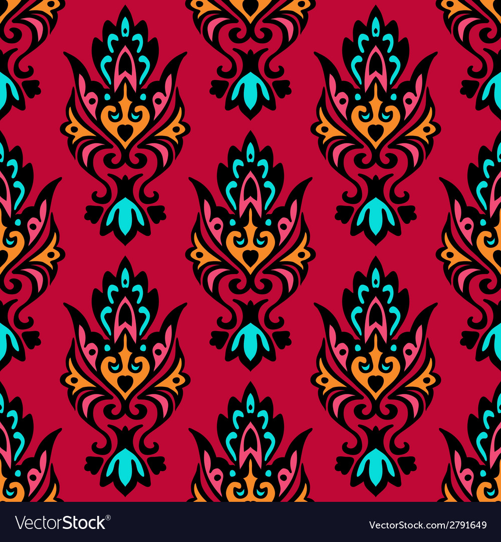 Red seamless floral damask vector | Price: 1 Credit (USD $1)