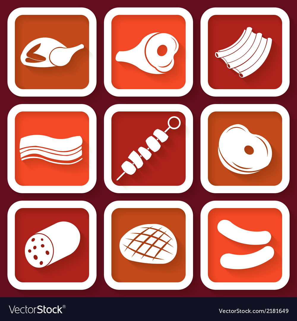 Set of 9 retro icons with meat vector | Price: 1 Credit (USD $1)