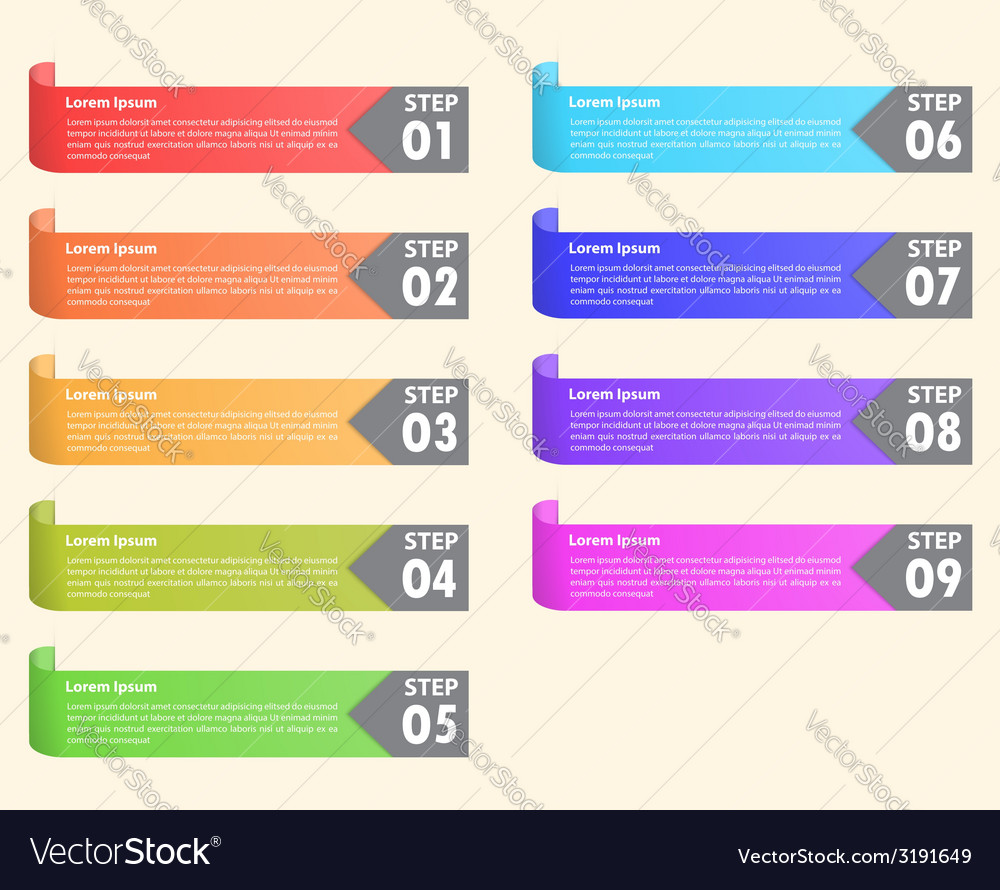 Set of colorful bookmarks infographics background vector | Price: 1 Credit (USD $1)