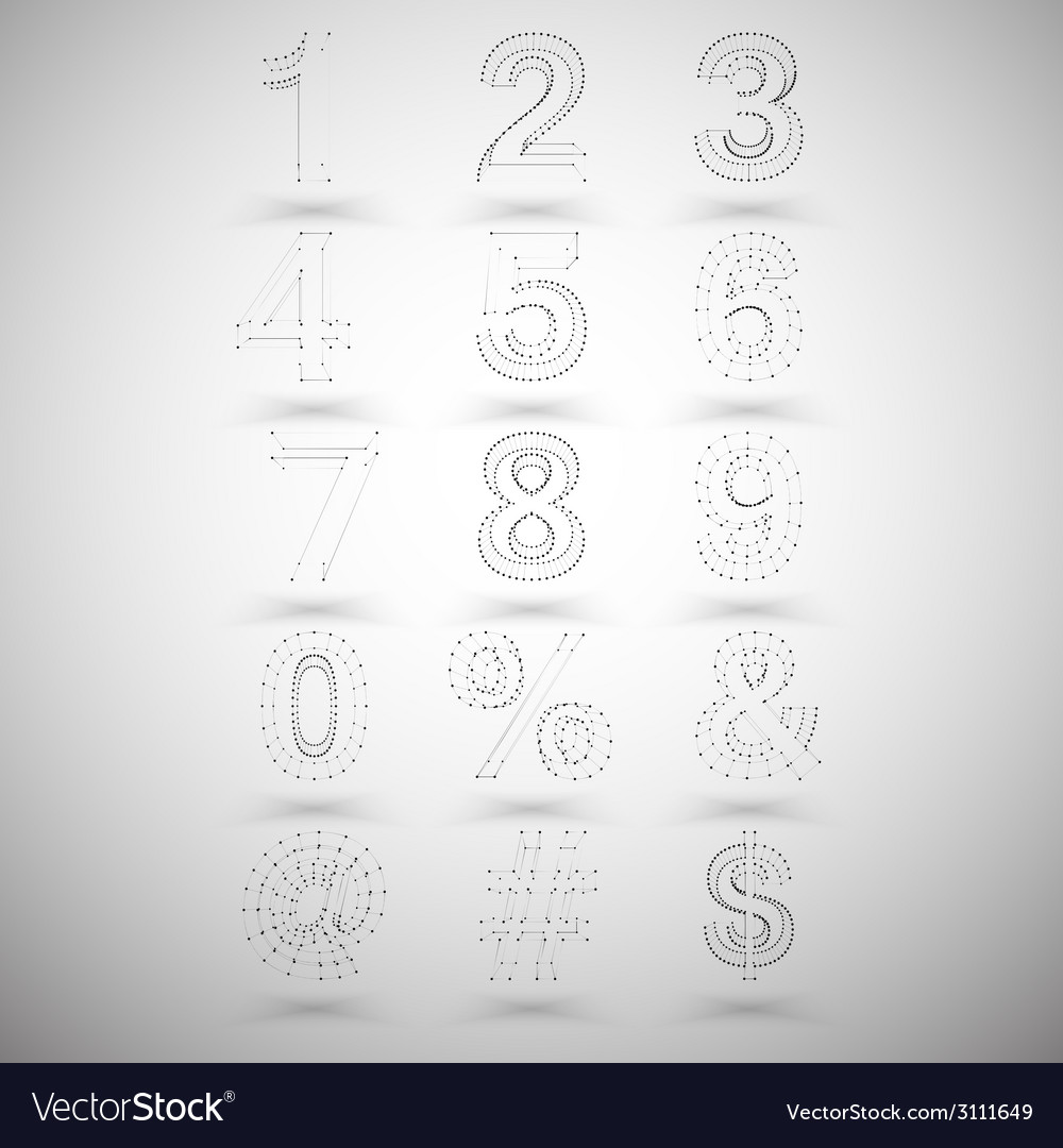 Three dimensional mesh stylish numbers and other vector | Price: 1 Credit (USD $1)